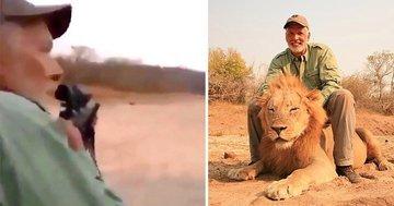 Охотник за трофеями празднует расстрел спящего льва