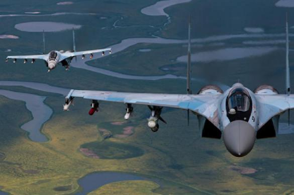 Russia's Su-35 fighter jets humiliate eight warplanes of US and Japanese air forces. 63365.jpeg