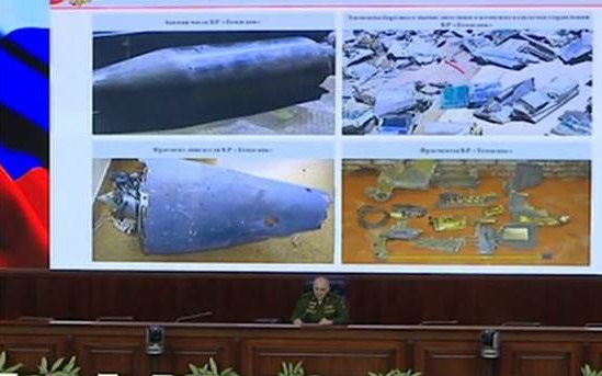 Russian Defense Ministry shows fragments of 'smart missiles' shot down in Syria. 62399.png