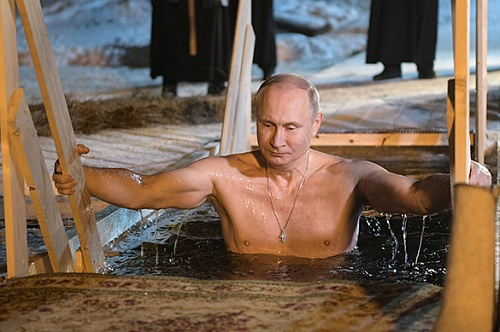 Putin celebrates Epiphany by bathing in ice cold waters. 61842.jpeg