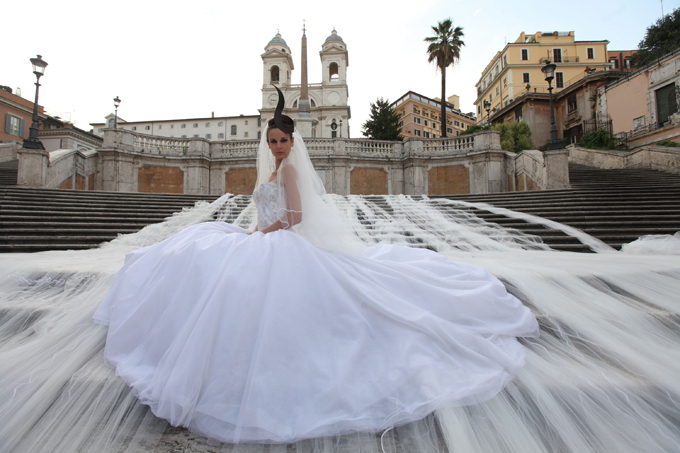 Wedding dress with longest bridal train