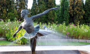 Fountain deflowers young woman during birthday party in Sochi