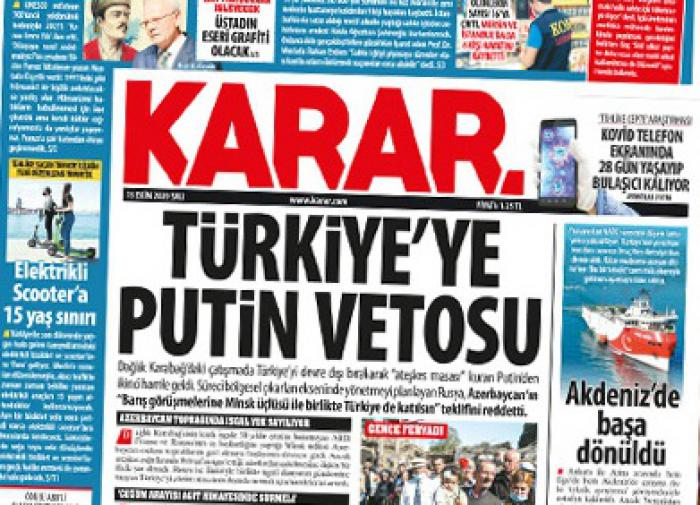 Turkey outraged about Putin's veto on Nagorno-Karabakh talks