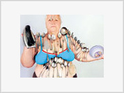 Magnet woman holds any types of cooking outfit on her body