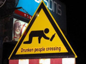 Drunken people crossing!
