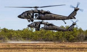 Black Hawk helicopters land on Poland's largest airfield