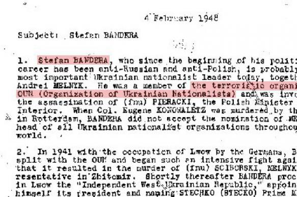 CIA recognizes Bandera as terrorist and funds him