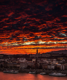 Budapest at sunset and sunrise