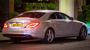 Russian girl drives Swarovski-encrusted Mercedes
