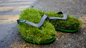 Always green and grassy flip flops