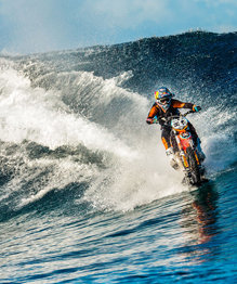 Riding a bike on waves