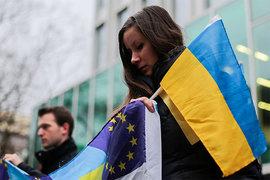 девушка, флаг Украины, Евросоюз