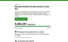 Петиция об отмене Брексита в интернете набрала 5,000,000 подписей за 5 дней