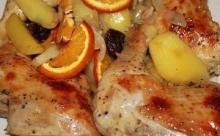 Новогодние куриные окорочка с апельсинами